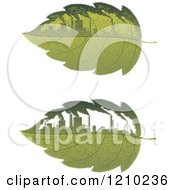 Clipart Of Green Leaves With Polluting Factories Royalty Free Vector Illustration
