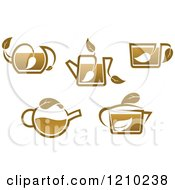 Clipart Of Brown Tea Or Coffe Pots And Cups With Leaves 2 Royalty Free Vector Illustration