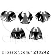 Clipart Of Black And White Heraldic Eagles Royalty Free Vector Illustration