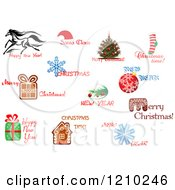 Clipart Of Holiday Greetings Royalty Free Vector Illustration