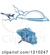 Clipart Of Blue Airplanes Flying Over Clouds 2 Royalty Free Vector Illustration