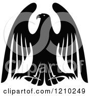 Clipart Of A Black And White Heraldic Eagle 10 Royalty Free Vector Illustration