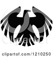 Clipart Of A Black And White Heraldic Eagle 8 Royalty Free Vector Illustration