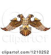 Clipart Of A Golden Heraldic Double Headed Eagle Royalty Free Vector Illustration