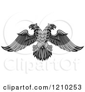 Clipart Of A Grayscale Heraldic Double Headed Eagle Royalty Free Vector Illustration
