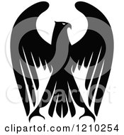 Clipart Of A Black And White Heraldic Eagle Royalty Free Vector Illustration