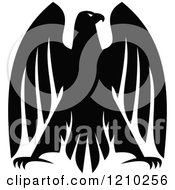 Clipart Of A Black And White Heraldic Eagle 3 Royalty Free Vector Illustration