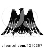 Clipart Of A Black And White Heraldic Eagle 4 Royalty Free Vector Illustration
