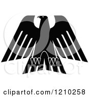 Clipart Of A Black And White Heraldic Eagle 5 Royalty Free Vector Illustration