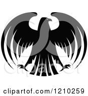 Clipart Of A Black And White Heraldic Eagle 6 Royalty Free Vector Illustration