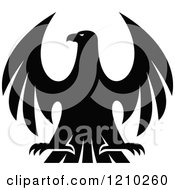 Clipart Of A Black And White Heraldic Eagle 7 Royalty Free Vector Illustration