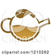 Clipart Of A Brown Tea Or Coffee Pot With A Leaf 4 Royalty Free Vector Illustration