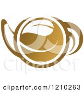 Clipart Of A Brown Tea Or Coffee Pot With A Leaf 3 Royalty Free Vector Illustration