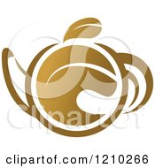 Clipart Of A Brown Tea Or Coffee Pot With A Leaf Royalty Free Vector Illustration