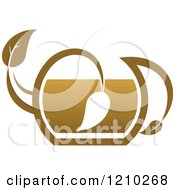 Clipart Of A Brown Tea Or Coffee Pot With A Leaf 5 Royalty Free Vector Illustration
