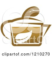 Clipart Of A Brown Tea Or Coffee Pot With A Leaf 7 Royalty Free Vector Illustration
