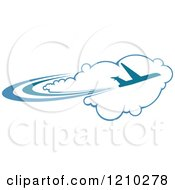 Clipart Of A Blue Airplane Flying Over Clouds 2 Royalty Free Vector Illustration