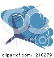 Clipart Of A Blue Airplane Flying Over Clouds 5 Royalty Free Vector Illustration