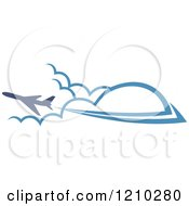 Clipart Of A Blue Airplane Flying Over Clouds 4 Royalty Free Vector Illustration