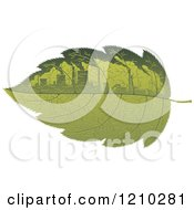 Clipart Of A Green Leaf With Polluting Factories Royalty Free Vector Illustration