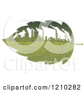 Clipart Of A Green Leaf With Polluting Factories 2 Royalty Free Vector Illustration