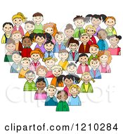 Clipart Of A Heart Made Of Diverse Children 2 Royalty Free Vector Illustration