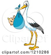 Clipart Of A Baby Delivery Stork With A Boy Royalty Free Vector Illustration