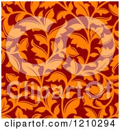 Clipart Of A Seamless Orange And Red Floral Pattern Royalty Free Vector Illustration