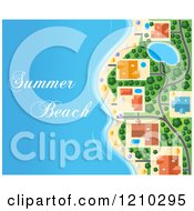 Clipart Of An Aerial Map Of Buildings And Summer Beach Text Royalty Free Vector Illustration