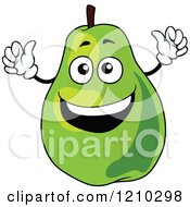 Clipart Of A Happy Pear Mascot Royalty Free Vector Illustration