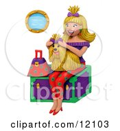 Clay Sculpture Of A Woman Holding A Shih Tzu Sitting On A Trunk Clipart Picture