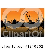 Clipart Of Silhouetted Working Cranes Unloading Cargo In A Seaport At Sunset 2 Royalty Free Vector Illustration