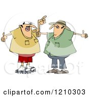 Cartoon Of Two White Men Arguing And Gesturing With Their Hands Royalty Free Clipart Vector Illustration