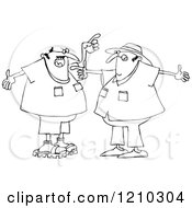 Cartoon Of An Outline Of Two Men Arguing And Gesturing With Their Hands Royalty Free Clipart Vector Illustration