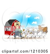 Cartoon Of A Blind Farmer And Mooing Turkey Birds Near A Cow Royalty Free Clipart Illustration