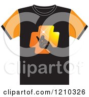 Clipart Of A T Shirt With A Hand Snapping Fingers Royalty Free Vector Illustration by Lal Perera