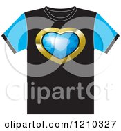 Clipart Of A T Shirt With A Diamond Heart Royalty Free Vector Illustration