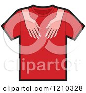 Clipart Of A T Shirt With Female Hands Royalty Free Vector Illustration
