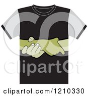 Clipart Of A T Shirt With Helping Hands Royalty Free Vector Illustration