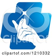Clipart Of A Hand Snapping Fingers On A Blue Cross Royalty Free Vector Illustration by Lal Perera