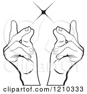 Clipart Of Black And White Hands Snapping Fingers Royalty Free Vector Illustration