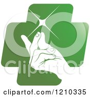 Clipart Of A Hand Snapping Fingers On A Green Cross Royalty Free Vector Illustration by Lal Perera