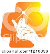 Clipart Of A Hand Snapping Fingers On An Orange Cross Royalty Free Vector Illustration by Lal Perera