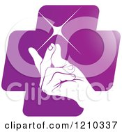 Clipart Of A Hand Snapping Fingers On A Purple Cross Royalty Free Vector Illustration
