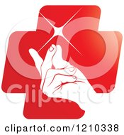 Clipart Of A Hand Snapping Fingers On A Red Cross Royalty Free Vector Illustration