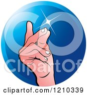 Clipart Of A Hand Snapping Fingers On A Blue Circle Royalty Free Vector Illustration