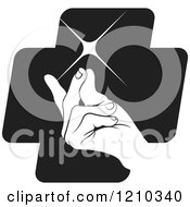 Clipart Of A Hand Snapping Fingers On A Black Cross Royalty Free Vector Illustration by Lal Perera