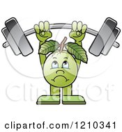 Clipart Of A Guava Mascot Lifting A Barbell Royalty Free Vector Illustration