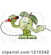 Clipart Of A Guava Mascot Singing Royalty Free Vector Illustration by Lal Perera