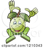 Clipart Of A Guava Mascot Dancing Or Jumping Royalty Free Vector Illustration by Lal Perera